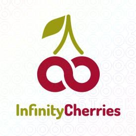 """I like how the green is used for the stem and then the first word, and red for the cherries and the second word. It gives an orderly appearance to the logo from top to bottom and left to right. The cherries forming an infinity sign is creative, although it looks more like a sideways """"s"""" depending how you look at it. Connecting the lines in the cherries/ infinity symbol might help."""