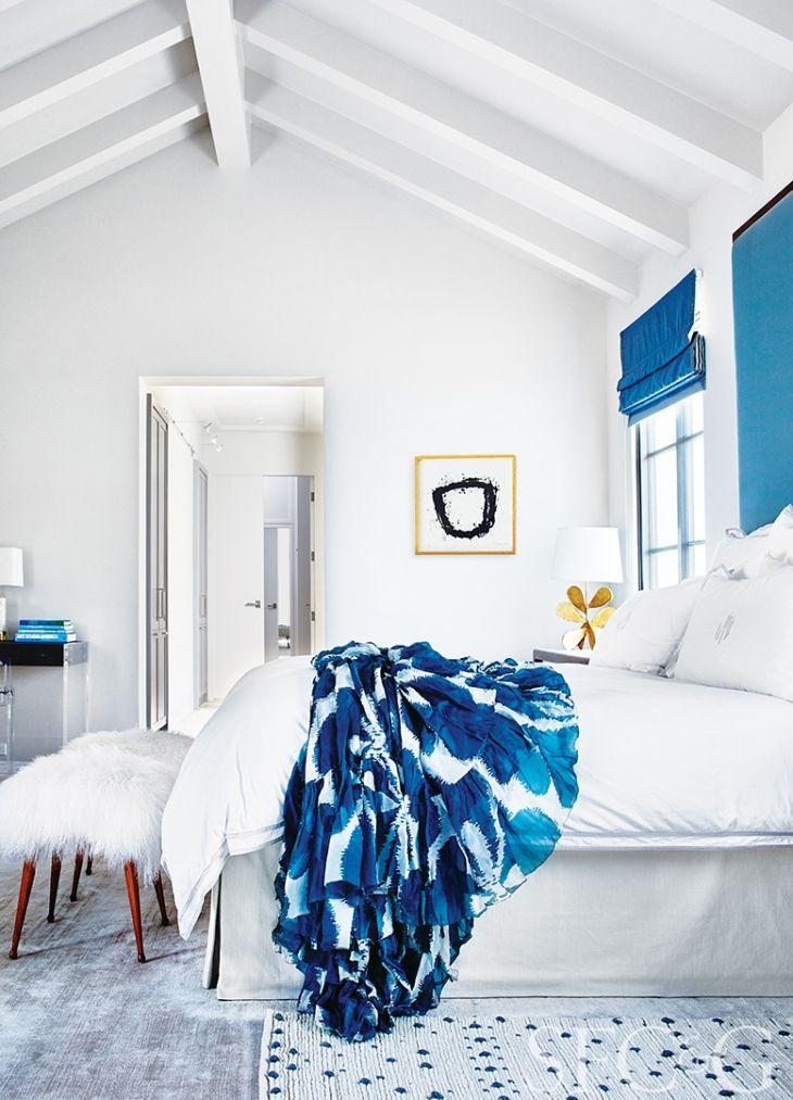 In The Master Bedroom, The Custom Headboard Is Upholstered In Blue Silk;  Mongolian Fur