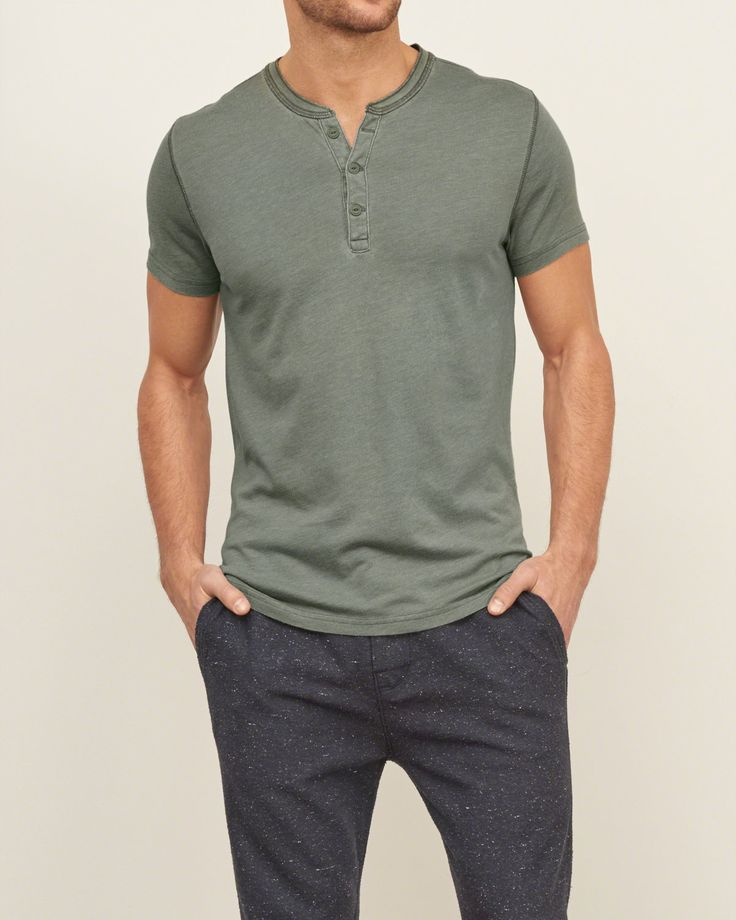 Mens Washed Out Henley | Mens Tops | Abercrombie.com