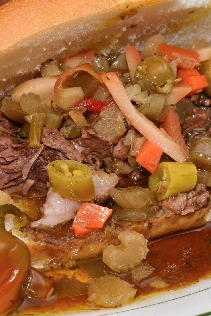 Chicago Italian Beef (Pot Roast Style) with Homemade Hot Giardiniera Recipe
