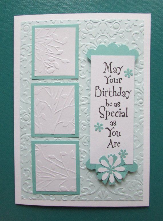 Birthday Card Handmade Cards Embossed Greeting Cards Stamped