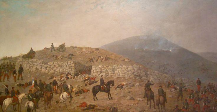 Carga de granaderos en la batalla de Chorrillos, Mochi, Giovanni (1831-1892), Oleo sobre tela