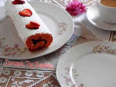 Roll cake with strawberry jam - Ρολό με μαρμελάδα φράουλα