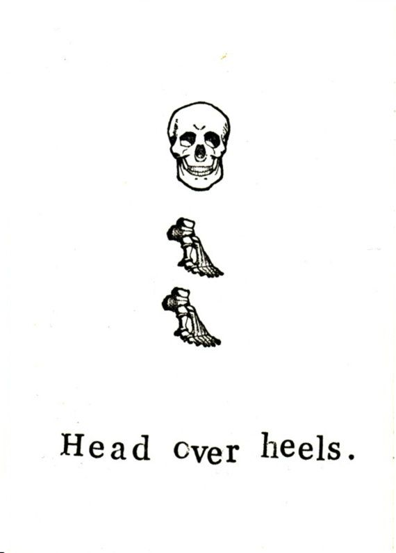 Head Over Heels Card | Funny Valentine's Day Card For Him For Her Skull Skeleton Anatomy Weird Love Medical Humor Bones Gothic