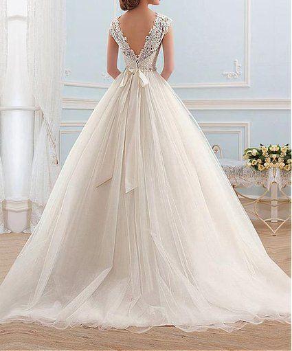 Lovelybride Cinderella Cap Sleeve Bateau Neckline Lace Ball Gown Wedding Dress: Amazon Fashion
