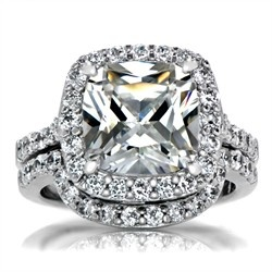 Sheera S Faux Diamond Wedding Ring Set Cushion Cut