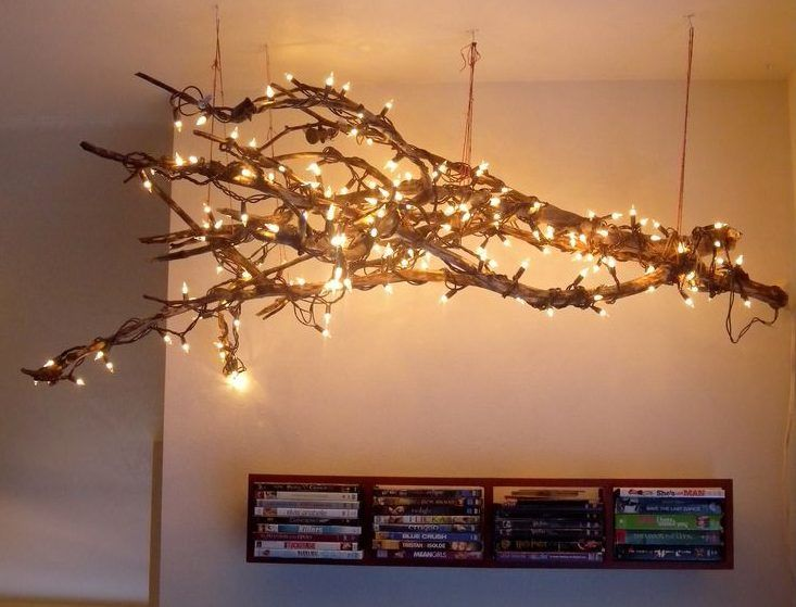 15 Really Fascinating Diy Tree Branch Chandeliers Tree Branch Decor Diy Tree Branch Decor Branch Chandelier