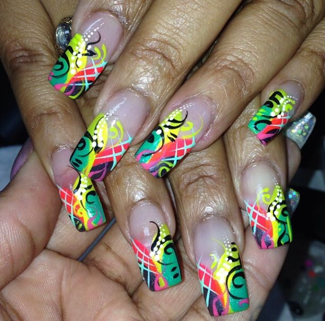 Acrylic nails by Brittany @ Pretty Nailz Rock
