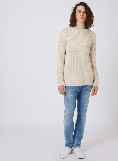HILFIGER DENIM Beige Cable Knit Jumper - Tommy Hilfiger - Brands - TOPMAN