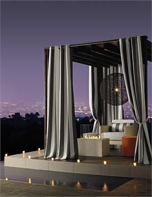 Sunbrella Stripe Outdoor Curtain Panel