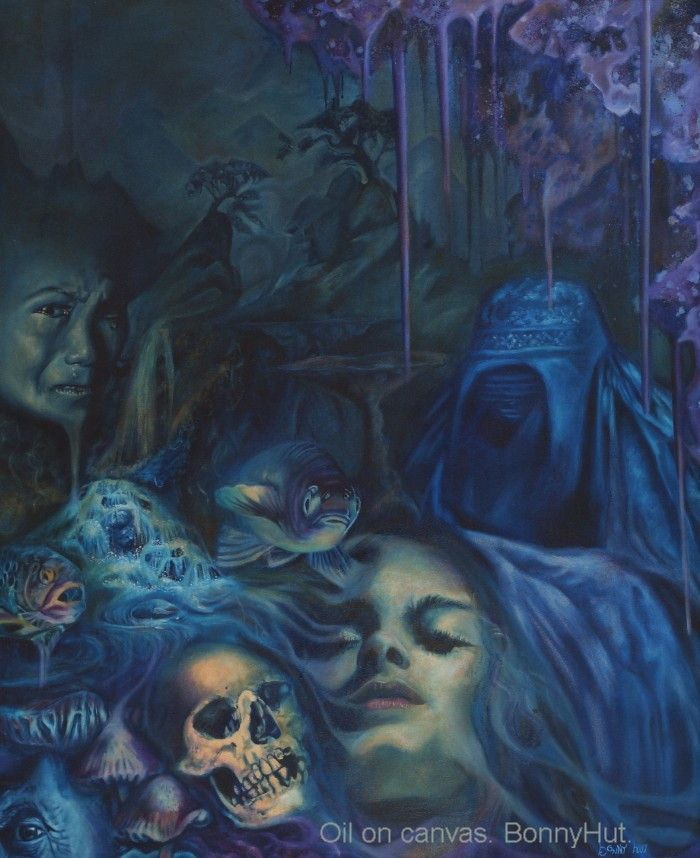 """A dark surreal oil painting portraying a sleeping woman, fish, Illuminati looking eye in the corner, woman in a burka, surreal landscape with a weeping woman and waterfall. Done by artist, Bonny Hut, it is called """"subconscious spirit."""" ??? This painting was published in the book Metamorphosis - 50 visionary artists by Beinart publishing."""