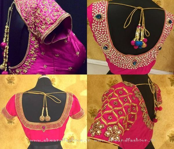 Pink Saree Blouse Designs                                                       …
