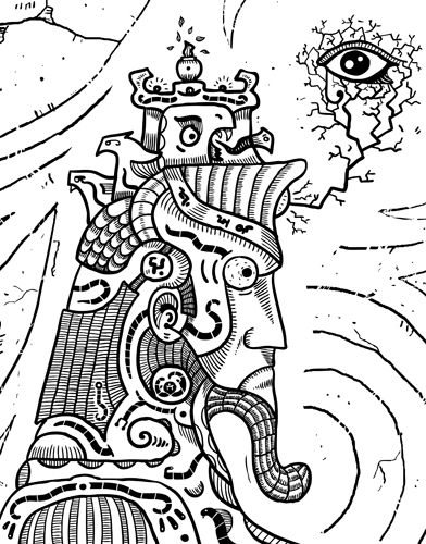 #Surrealism #illuminati is black and white #drawing of all seeing #eye. Seems like #surreal #character maybe using his brain power. Automatic drawing of a #subconscious mind. #Primitive #surrealism