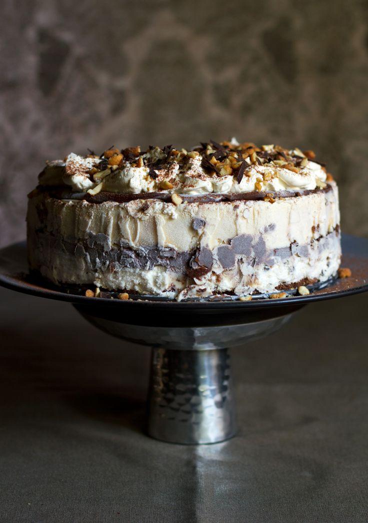 Tin Roof Ice Cream Cake with pb ice cream, ganache, whipped cream, and roasted peanuts