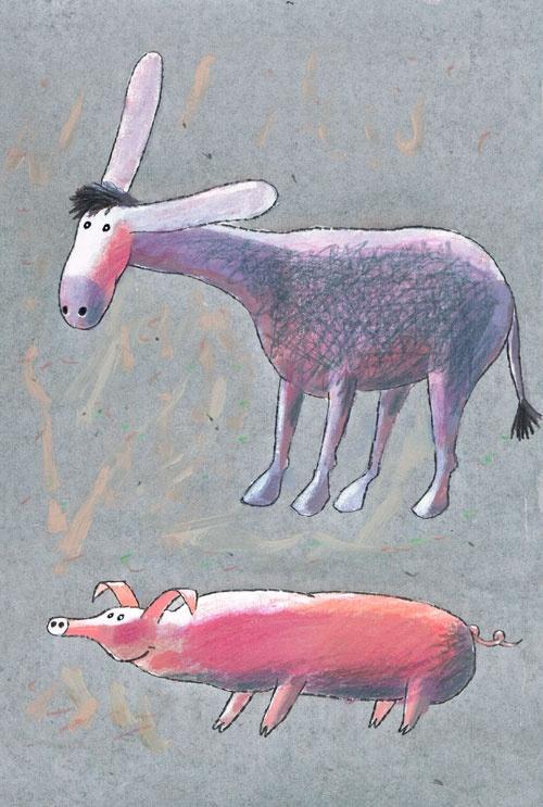 Titel: thema- Dieren rond de woning - Ezel en varken.  Kunstenaar: Aleksandr Vakhrameev  Afm.: 20 br. x 28 cm hg.   Techniek: waterverf op papier.  Uit de collectie Postersquare