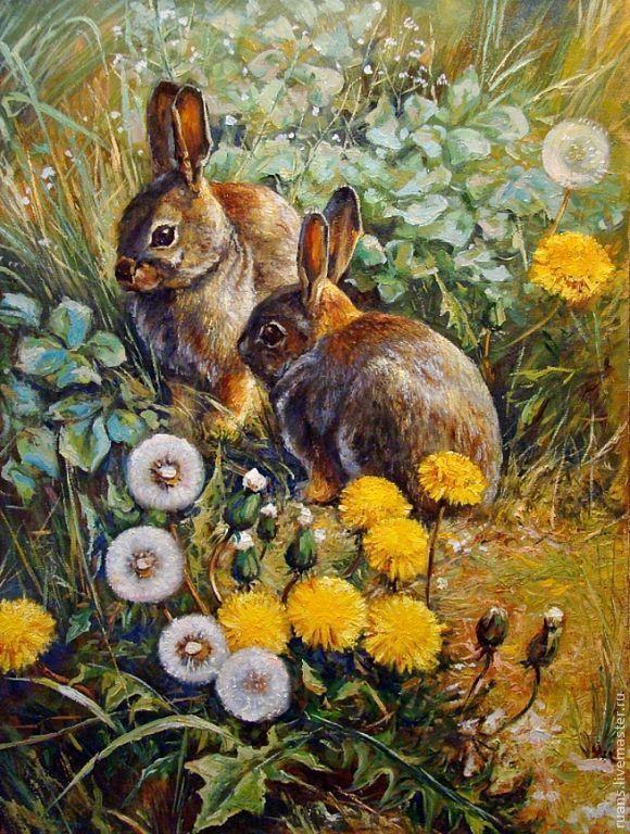 Купить Картина Зайчонки - Живопись, животные, холст, масло, картина на холсте, картина, анималистика, цветы