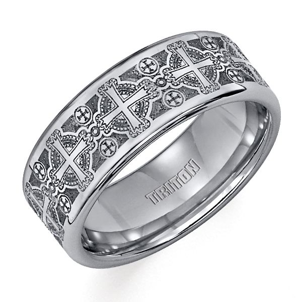 Triton Tungsten Carbide Ring with Laser Engraved Crosses