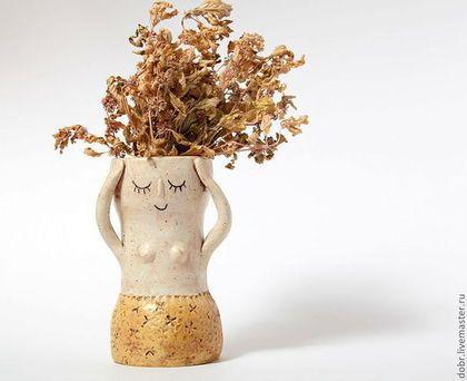 Вазы ручной работы. Ярмарка Мастеров - ручная работа Вазочка керамическая Кругом голова. Handmade.