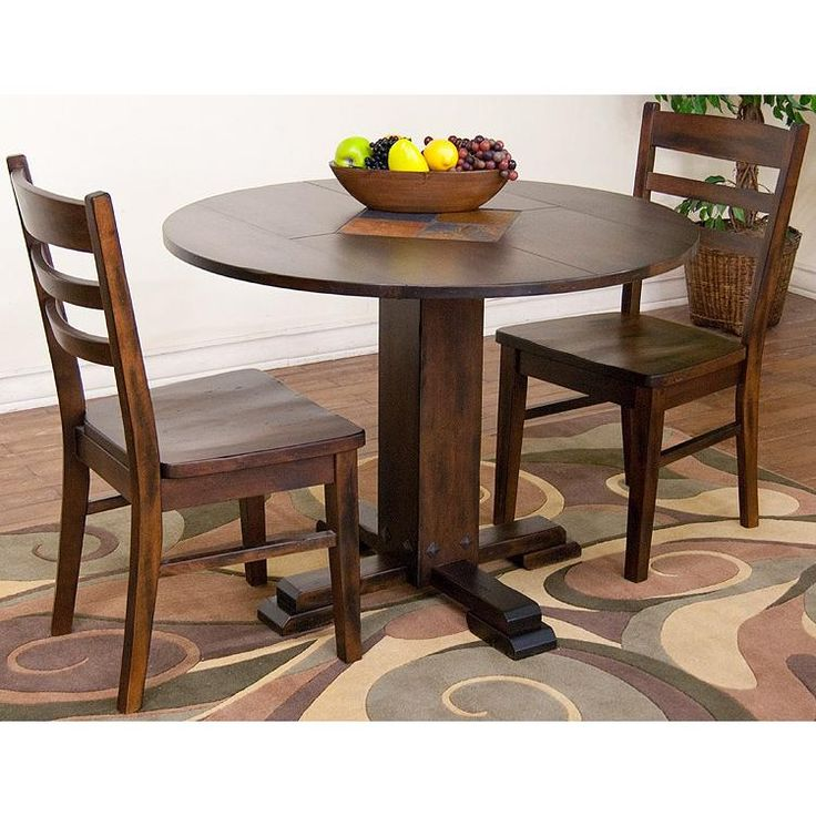 Round Drop Leaf Dining Table Santa Fe Dark Chocolate Width: Height: Depth:  This Drop Leaf Table Is Brimming With Charm. Featuring A Fixed Center And  Drop ...