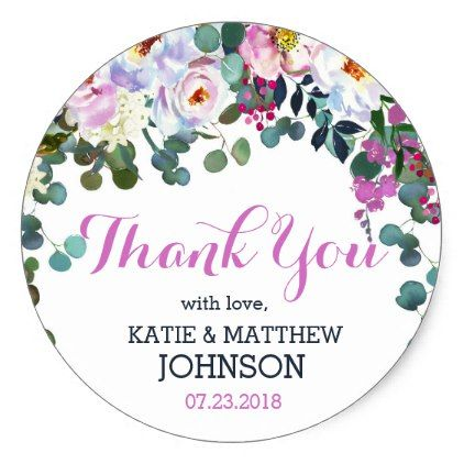 #Watercolor Floral Modern Wedding Label - #wedding gifts #marriage love couples