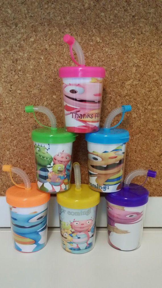 **********June 1st Sale*********** Receive 10% Off your order with a Minimum Purchase of $14.99 Today! Use Coupon Code: June1 https://www.etsy.com/your/shops/MehareyDesigns Henry Hugglemonster Party Favor Cups Personalized With Thanks for coming, Henry Hugglemonster Birthday Treat Cups Set of 6, BPA Free