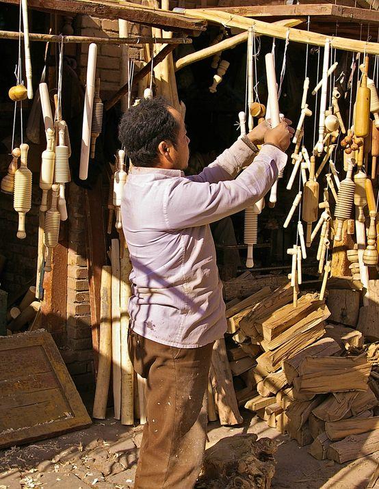 Hand made wooden kitchen utensils at a shop in Kashgar.