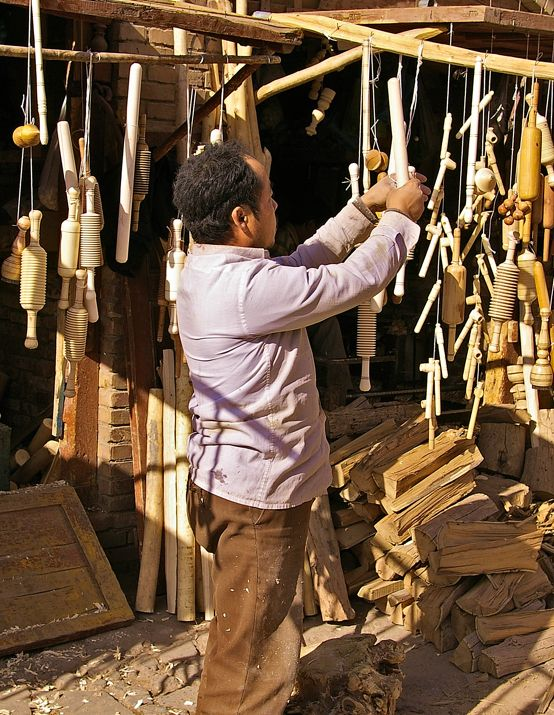 Hand made wooden kitchen utensils at a shop in Kashgar.