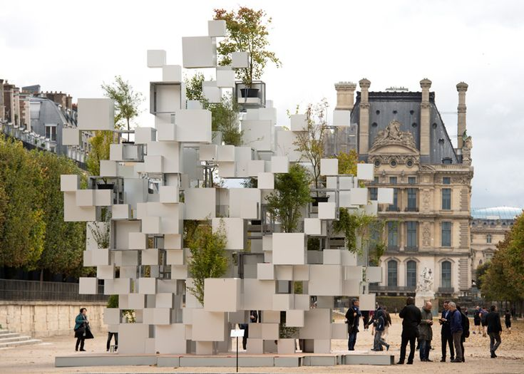 "Sou Fujimoto stacks aluminium boxes to form ""nomadic"" house installation in Paris."