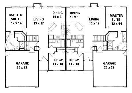 Plan # 2190A - Duplex Ranch | First floor plan