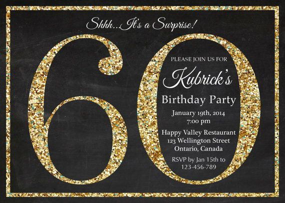 60th Birthday Invitation Gold Glitter Party Invite Adult Surprise Elegant Printable Digital DIY