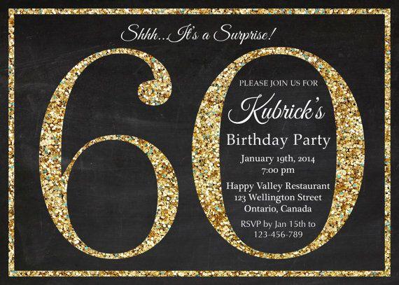 60th birthday invitation. Gold Glitter Birthday Party invite. Adult Surprise Birthday. Elegant. Printable digital DIY. on Etsy, $10.00