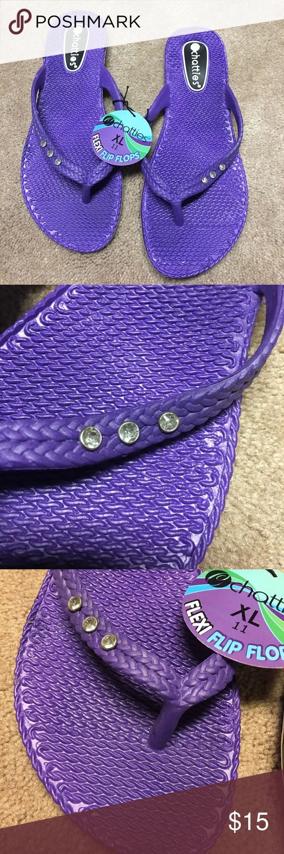 Purple rhinestone studded purple flip flops! BNWT Purple rhinestone studded purple flip flops! BNWT Smooth plastic so won't give you blisters! Get for camping, Casual wear or going out! Prefect for any occasion! Size XL (9-10) ❌No trades! Chatties Shoes Sandals
