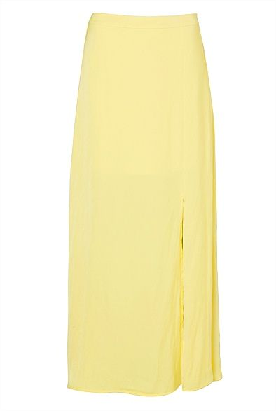 Crossover Split Maxi in citron yellow from witchery. Love this skirt. #witcherywishlist