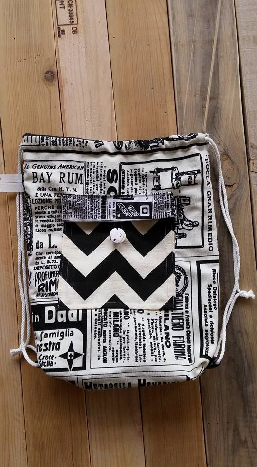Newspaper,Backpack Canvas Cotton drawstring Hip bag Handmade bag Gift for her,Front pocket,Star,Black and white,