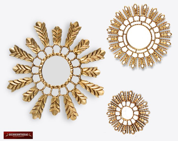 Decorative Sunburst Mirror Set 3   Round Wall Mirrors, U0027Gold Collectionu0027   Handmade