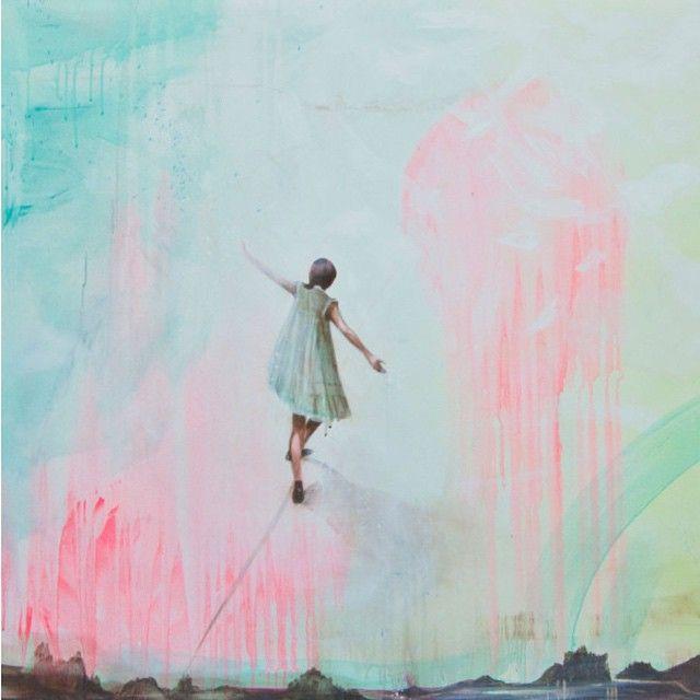 """""""Balansekunst"""" Solgt! se flere malerier på www.groholter.no Ønsker alle en#GodNyUke#artbygromuktaholter#maleri#norskkunst#kunst#art#contemporaryart#magicRealism#svev#air#dance#balance#mondaymood ☁️☁️☁️"""