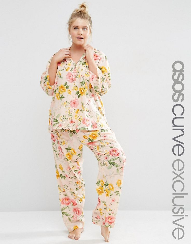 Image 1 of ASOS CURVE Floral Bloom Print Traditional Shirt & Trouser…