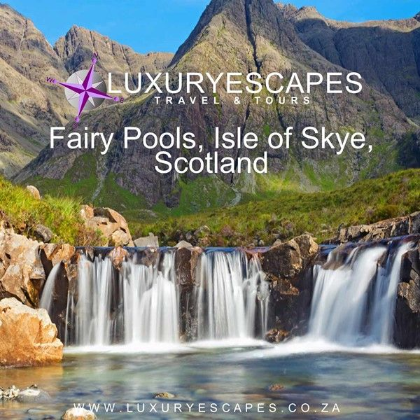 Amazing Place today is Fairy Pools, Isle of Skye, Scotland. In the shadow of the formidable Cuillin the largest mountains on Skye one will find waterfalls that are better known as the Fairy Pools.  Popular with hikers, campers and wildlife enthusiasts alike it has something for everyone. www.luxuryescapes.co.za