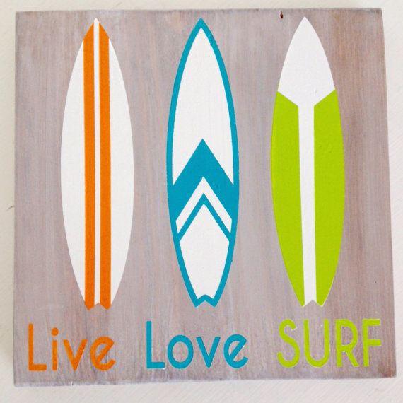Surfboard Wood Sign Vintage Surfboards Live Love Surf