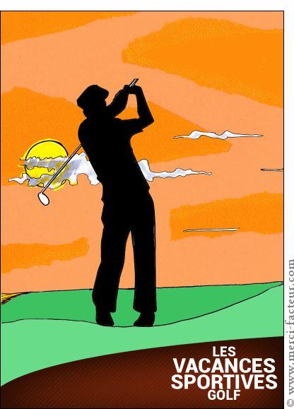 Carte Vacances sportives golf pour envoyer par La Poste, sur Merci-Facteur !