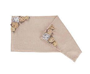 Tovaglia in lino con applicazioni di rose beige - 100x100 cm