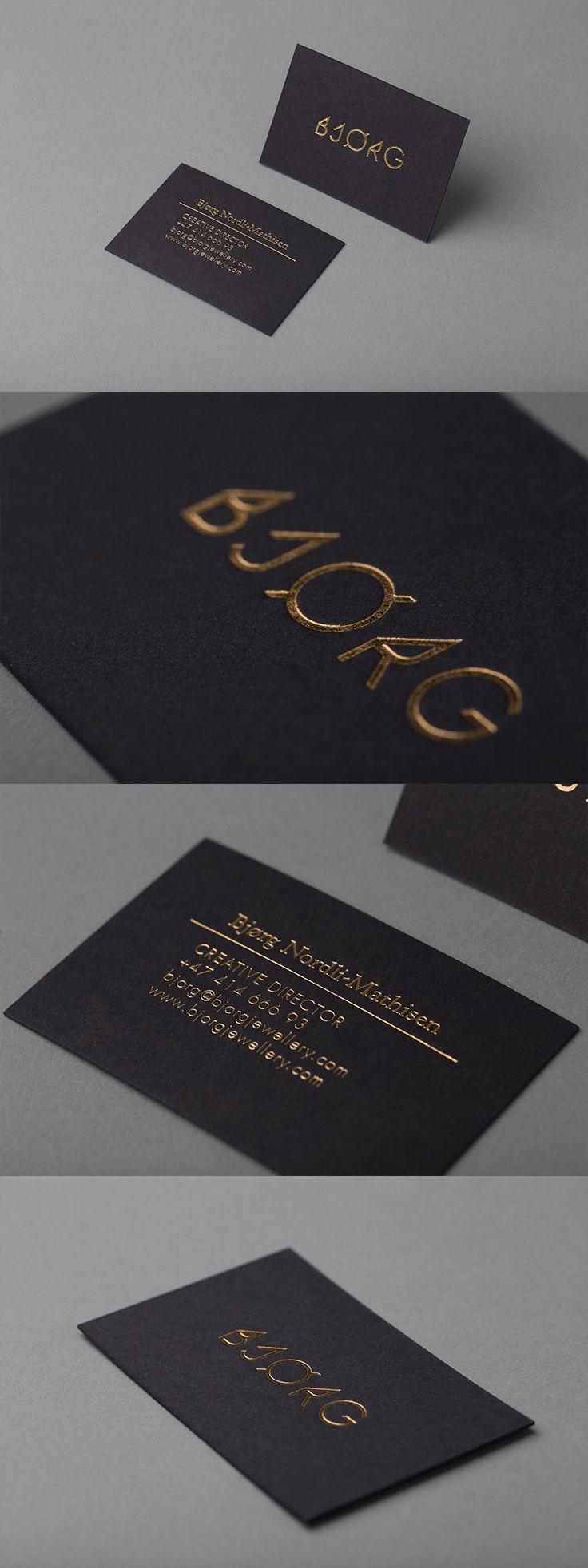 BJØRG - Visittkort med foliepreg på sort kartong.  #visittkort