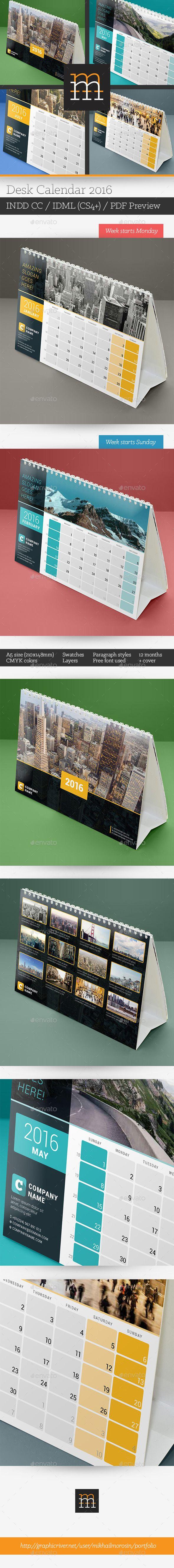Desk Calendar 2016 Template PSD #design Download…