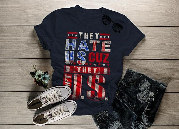 Women s Patriotic They Hate U.S. Ain t Us T-Shirt 4th July Shirts By Sarah  Distressed Tee f544681094