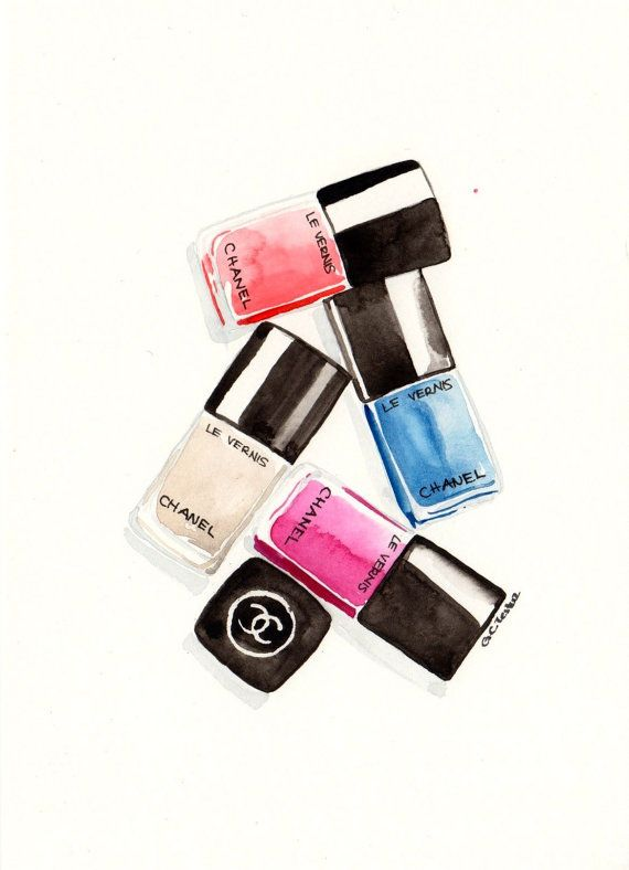 Chanel nail polishes  Watercolor MakeUp illustration by MilkFoam, $35.00