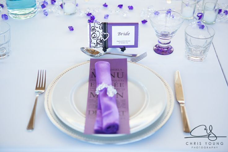Purple serviettes  with a touch of bling.  Contact us for details of how to make this happen for your wedding reception.  http://www.tailracecentre.com.au/contact/ http://www.tailracecentre.com.au/2014/01/06/chris-angela-barwicks-wedding/