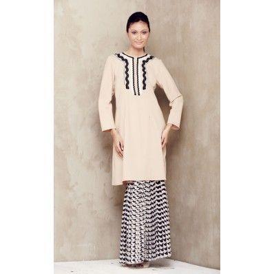 emel by Melinda Looi - Baju Kurung with Neckline Trims and Pleated Skirt