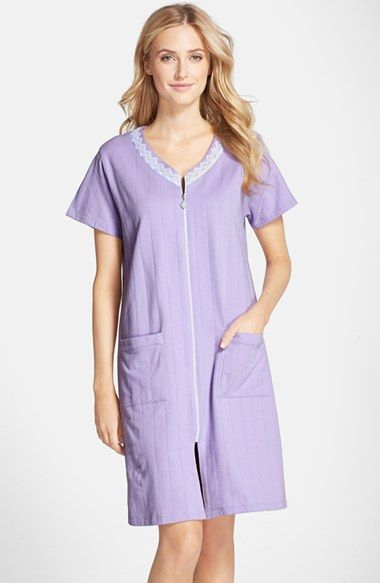 $78.46 Free shipping and returns on Eileen West 'Lavender Fields' Short Zip Cotton Terry Robe at Nordstrom.com. Spa-soft channel-stitch quilting lightly textures a front-zip robe perfect for unwinding on the sofa after a long day. Lace trim at the V-neck adds a more feminine feel.