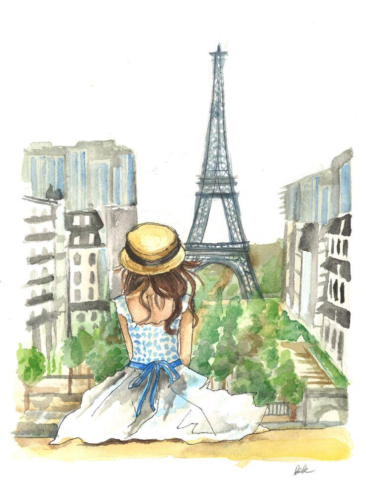 Torre Eiffel de París moda poster acuarela y por BKDesignsStudio