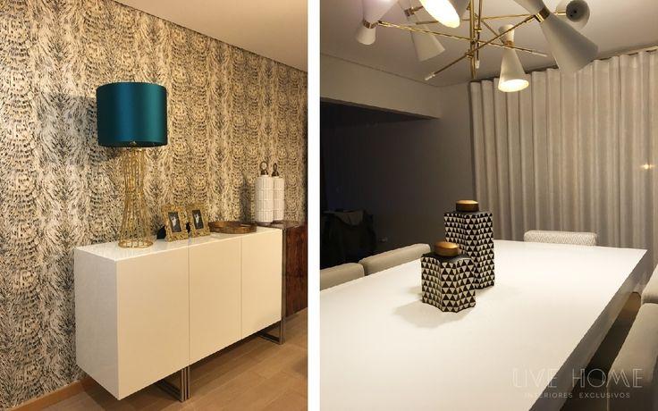 Projecto de decoração integral de apartamento em Riba Mar – Lourinhã. Acompanhamento e seleção de materiais; para remodelação, #Design e montagem de #mobiliário, #sofás, #cadeirões, #iluminação, #tapetes, #cortinados, #papéisdeparede, #tecidos, peças de #decoração e #complementos.  Destaque para as marcas em papel de parede #robertocavalli, Tecidos #aldeco. #livehome #interiores  www.livehome.pt